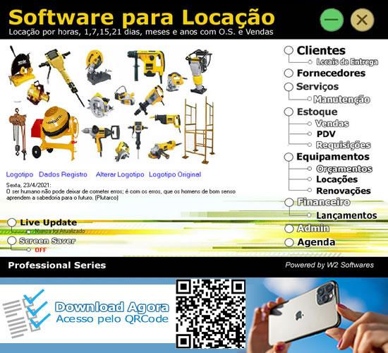 Software Locação de  andaimes máquinas equipamentos betoneiras