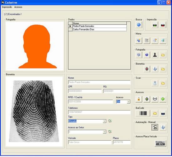 Software controle de acessos biometria automação