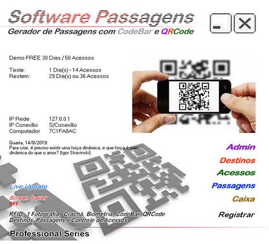 Software geração de passagens QRCode