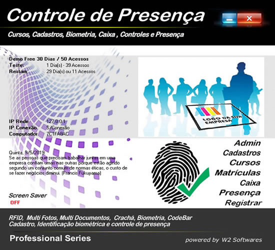 Software para cursos controle de presença foto biometria