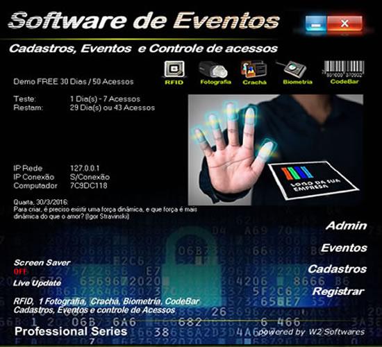 Software para eventos com controle de acessos