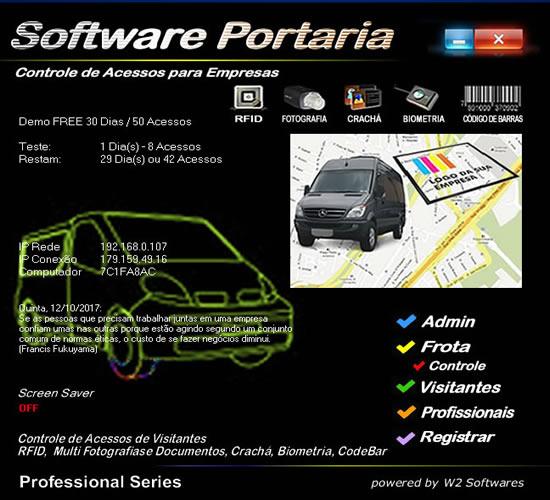 Software controle de veículos NF Rotas KM acessos de visitantes funcionarios