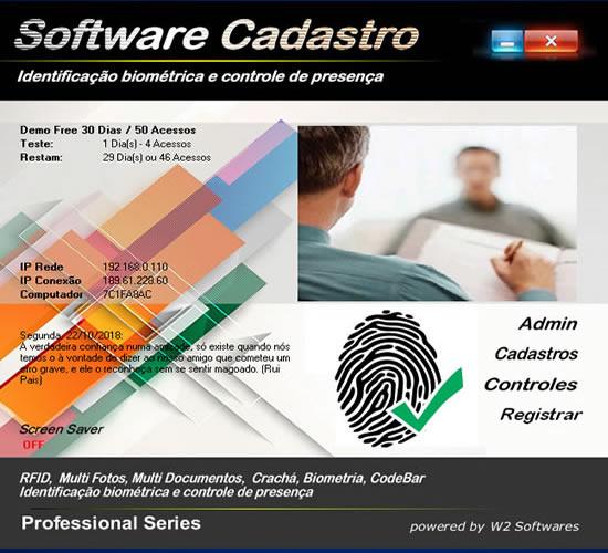 Controle de presença cadastro com biometria Foto BarCode